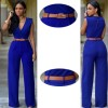 Women Irregular High Waist V Wide Legs Pants Blue Dress image