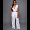 Women Irregular High Waist V Wide Legs Pants White Dress image