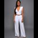 Women Irregular High Waist V Shape Wide Legs Pants Dress-White image