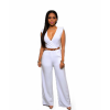 Women Irregular High Waist V Wide Legs Pants White Dress image