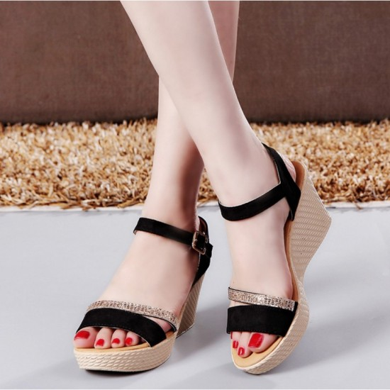 Open Toe Shape High Wedge Buckle Sandals For Women-Black image