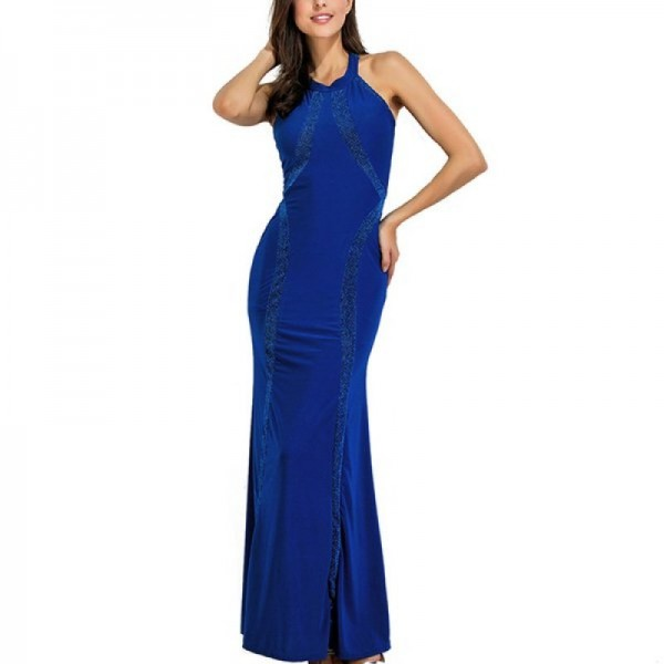Women Body Tight Geometric Stitching Sexy Blue Color Party Dress image