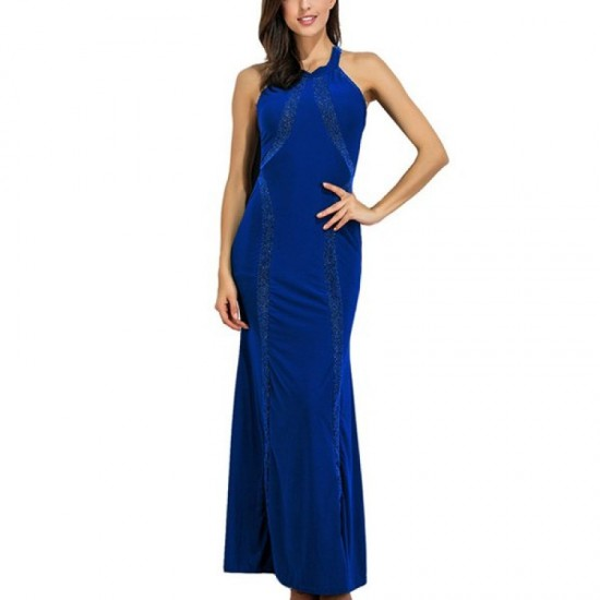 Women New Fashion Body Tight Geometric Stitching Party Dress-Blue image