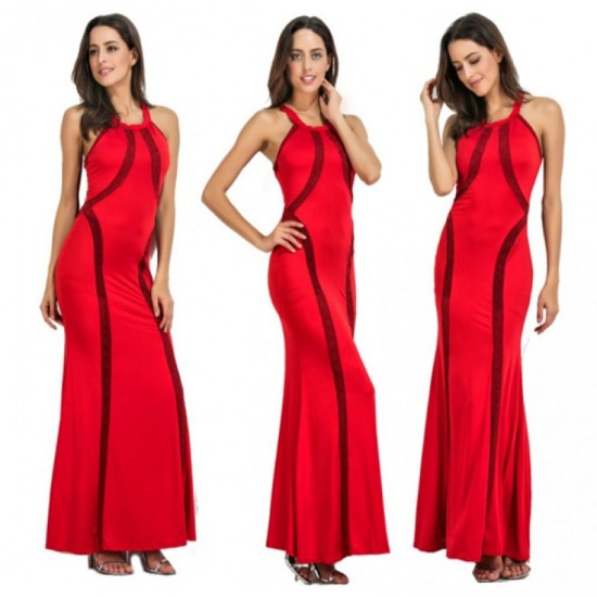 Women New Fashion Body Tight Geometric Stitching Party Dress-Red image