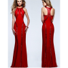 Women Body Tight Geometric Stitching Sexy Red Color Party Dress image