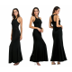 Women Body Tight Geometric Stitching Sexy Black Color Party Dress image