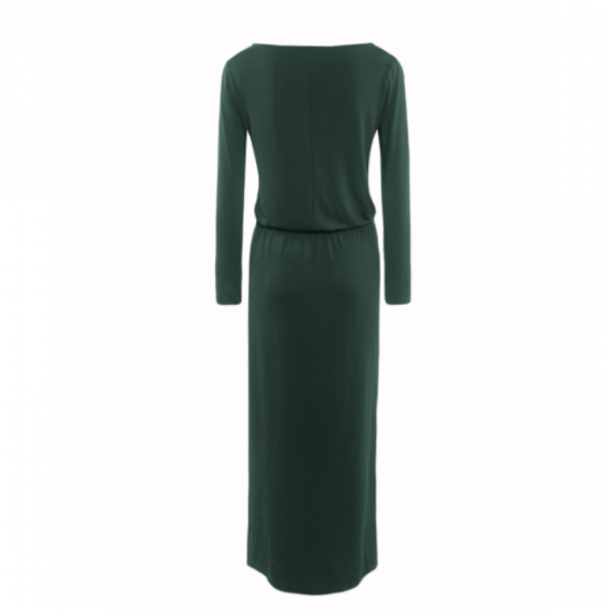 Womens New Green Maxi Round Neck With Leather Belt Long Sleeves Dress image