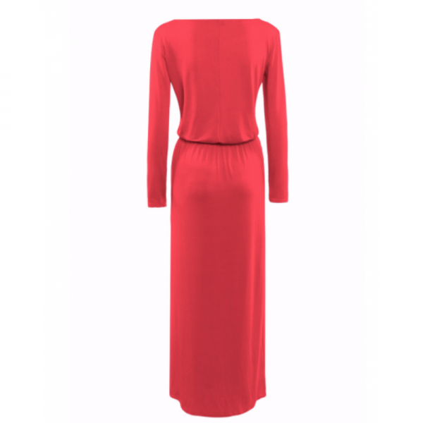 Womens New Red Maxi Round Neck With Leather Belt Long Sleeves Dress image