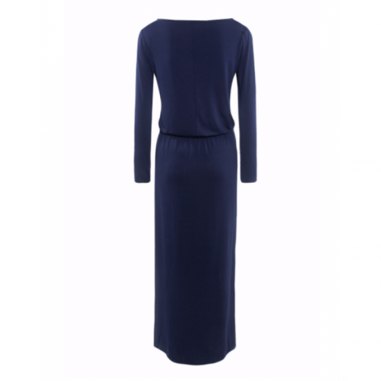 Womens New Blue Maxi Round Neck With Leather Belt Long Sleeves Dress image