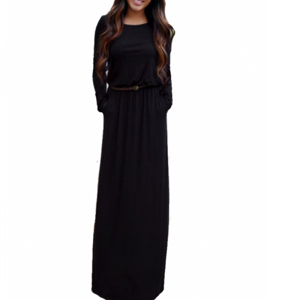 Womens New Black Maxi Round Neck With Leather Belt Long Sleeves Dress image