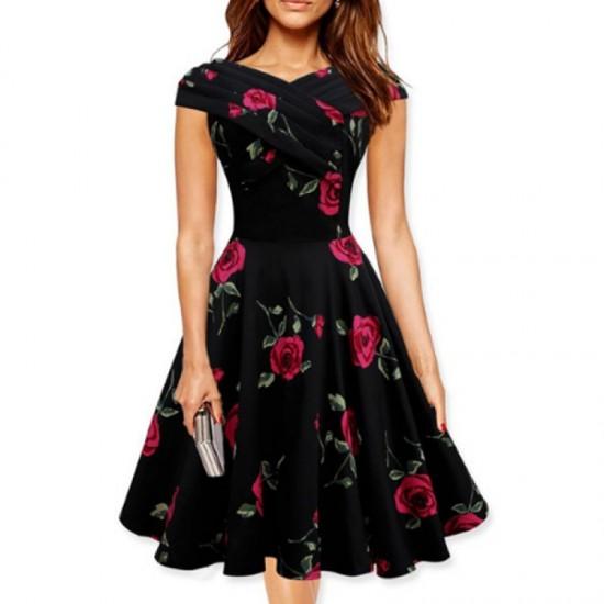 Retro V Neck Floral Short Sleeve Women Dress-Red image