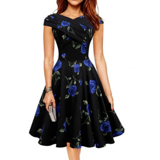 Retro V Neck Floral Short Sleeve Women Dress-Blue image