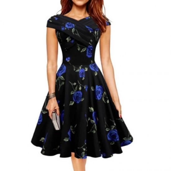 Retro V Neck Floral Short Sleeve Women Dress-Blue image