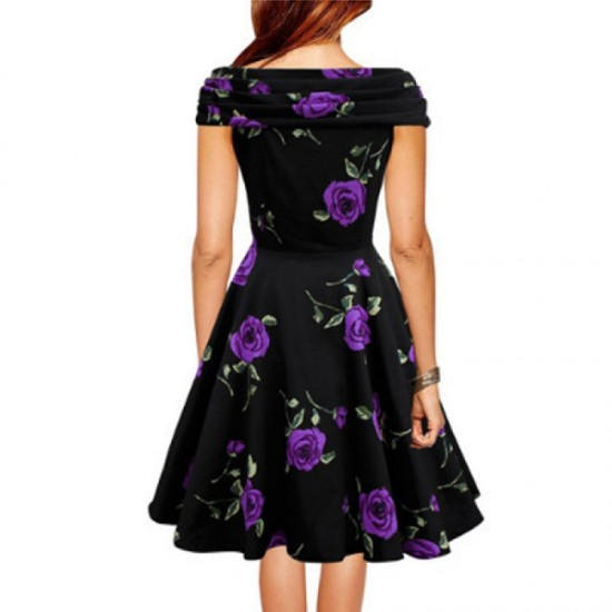 Retro V Neck Floral Short Sleeve Women Dress-Purple image