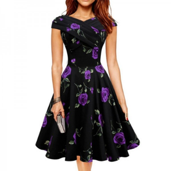 Purple Color Retro V Neck Short Sleeve Women Dress image