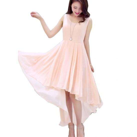 women's irregular beach Long Bohemian Chiffon Dress-Pink image