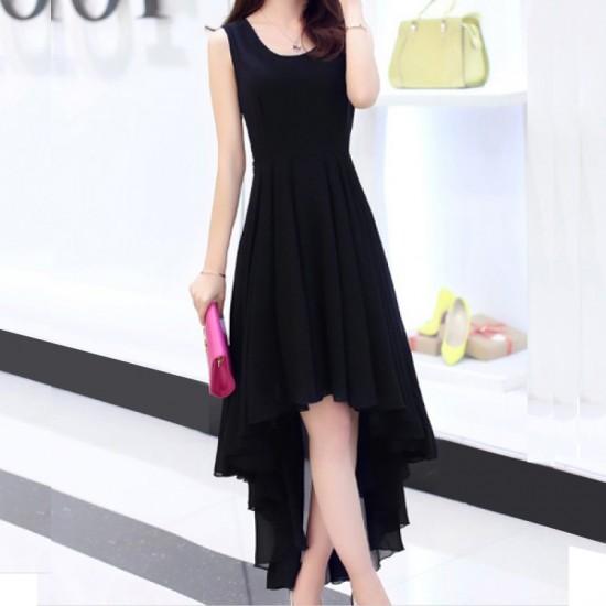 women's irregular beach Long Bohemian Chiffon Dress-Black image