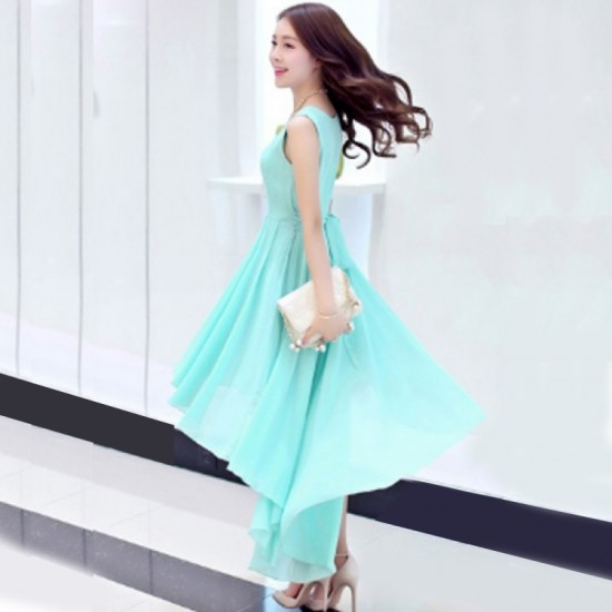 women's irregular beach Long Bohemian Chiffon Dress-Blue image