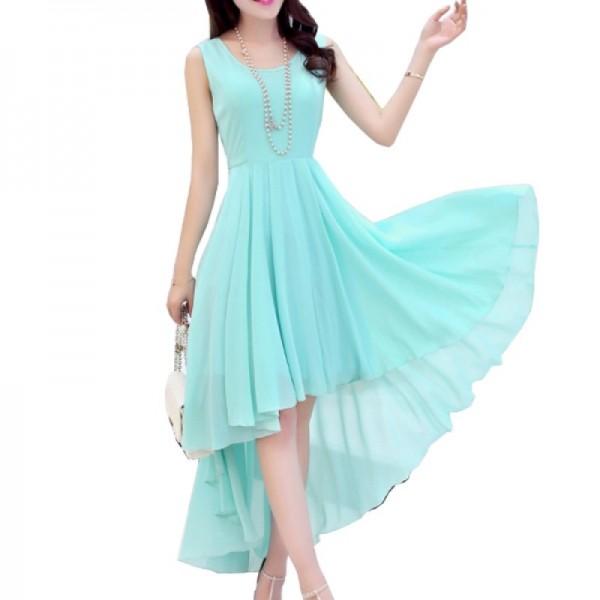 Korean Fashion Blue Color Long Bohemian Chiffon Women Dress image