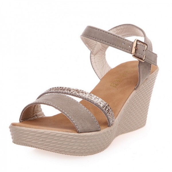 Gold Color Buckle High Wedge Sandals For Women image