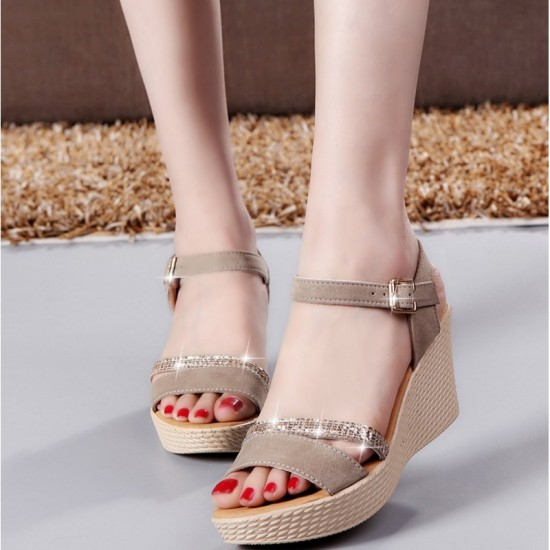Open Toe Shape High Wedge Buckle Sandals For Women-Gold image