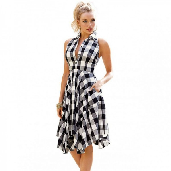 Women Fashion Black Plaid Sleeveless Irregular Thin Coat Mini Dress image