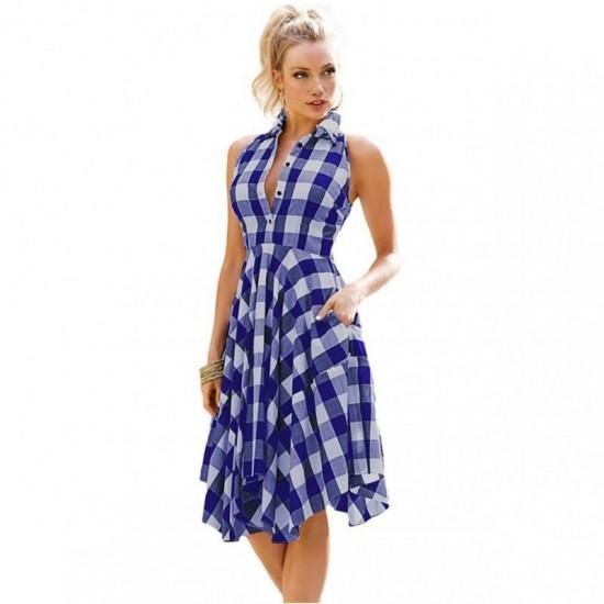 Women Fashion Plaid Sleeveless Irregular Thin Coat Mini Dress-Blue image