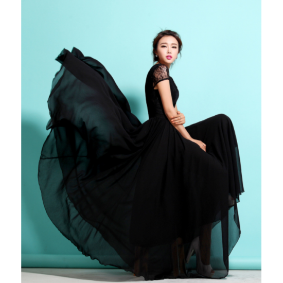 New Elegant Lace Designed Chiffon Short Sleeved Long Dress-Black image