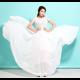 New Elegant Lace Designed Chiffon Short Sleeved Long Dress-White image