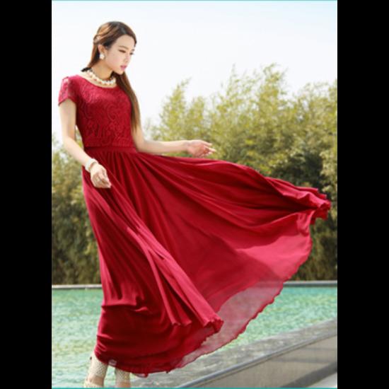 New Elegant Lace Designed Chiffon Short Sleeved Long Dress-Red image