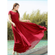 Red New Elegant Lace Designed Chiffon Big Pendants Short Sleeved Long Section Dress image