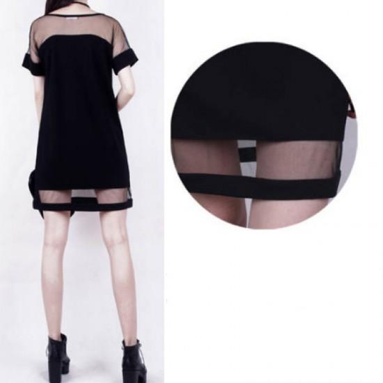 Korean Fashion Net Yarn Splicing Chiffon Short Sleeve Women Shirt image