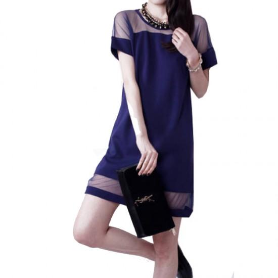 Korean Fashion Dark Blue Splicing Chiffon Short Sleeve Women Shirt image