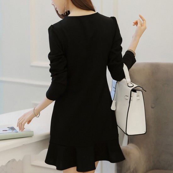 Women New Slim Bow Knot Long Sleeve Round Neck Dress-Black image