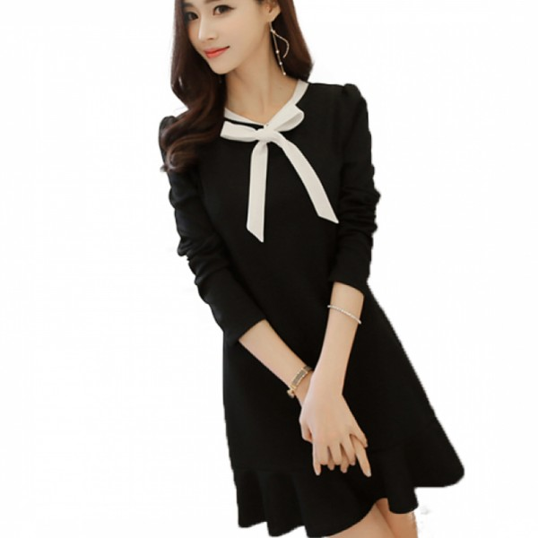Womens New Slim Bow Knot Long Sleeve Round Neck Skirt Dress image