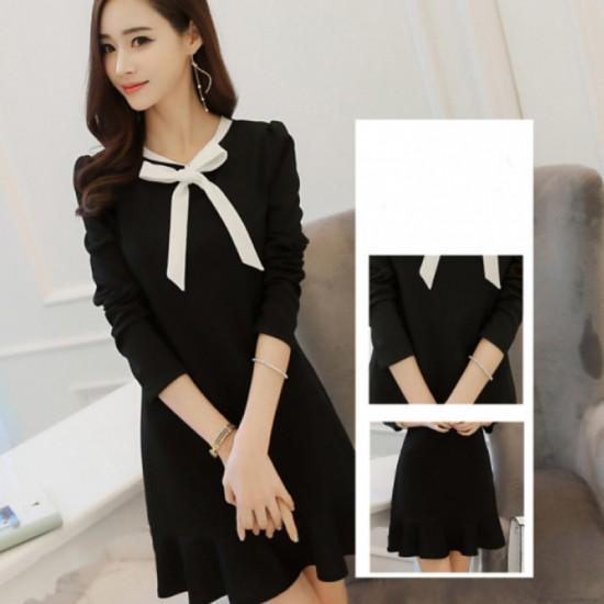 Women New Slim Bow Knot Long Sleeve Round Neck Dress-Black image
