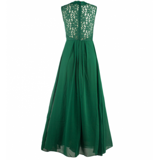 New Princess Style With Long Lace Hollow Small Back V Neck Maxi Dress-Green image