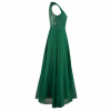 Princess Style With Long Lace Hollow Small Back V Neck Maxi Green Dress image