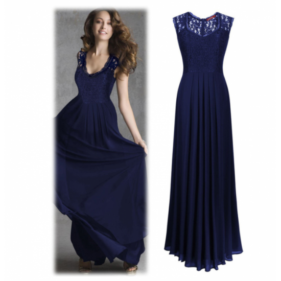 New Princess Style With Long Lace Hollow Small Back V Neck Maxi Dress-Blue image