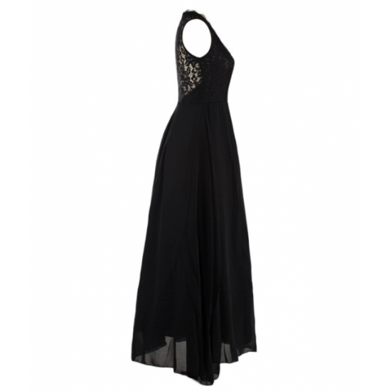 Princess Style With Long Lace Hollow Small Back V Neck Maxi Black Dress image