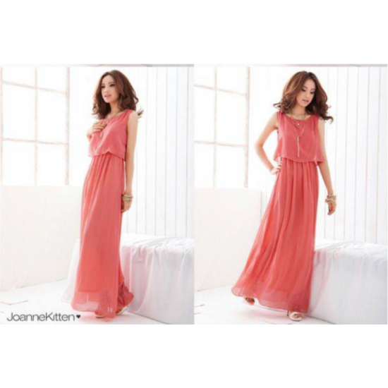 Women Latest Style Bohemian Retro Lotus Leaf Elegant Long Pink Dress image