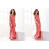 Women Latest Style Bohemian Retro Lotus Leaf Elegant Long Pink Dress image