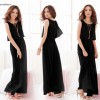 Women Latest Style Bohemian Retro Lotus Leaf Elegant Long Black Dress image