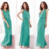 Women Latest Style Bohemian Retro Lotus Leaf Elegant Long Green Dress image