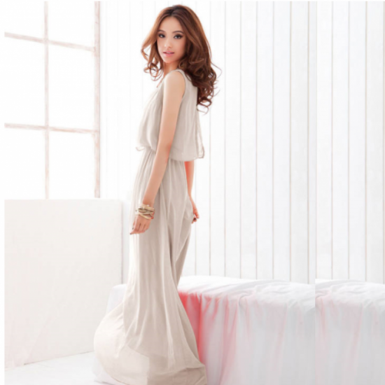 Women Latest Style Bohemian Retro Lotus Leaf Elegant Long Cream Dress image
