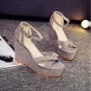 Grey Color High Heel Cross Strap Wedge Sandals For Women image