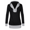 Women Button Style V-Neck Long Section Black Hoodie Sweater image