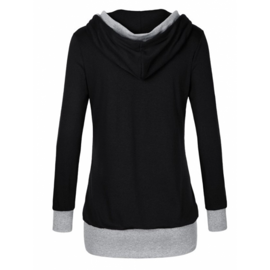 Women Button Style V-Neck Long Section Hoodie Sweater-Black image