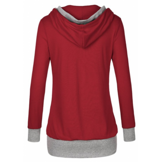 Women Button Style V-Neck Long Section Hoodie Sweater-Red image