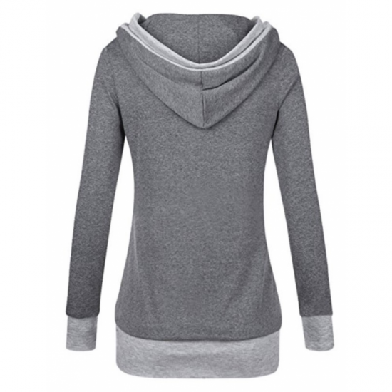 Women Button Style V-Neck Long Section Hoodie Sweater-Grey image
